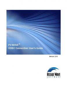 PV-WAVE ODBC Connection User s Guide. Version 10.0
