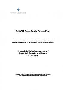 PvB (CH) Swiss Equity Futures Fund