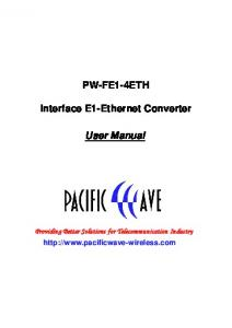 PW-FE1-4ETH. Interface E1-Ethernet Converter. User Manual