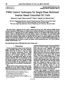 PWM Control Techniques for Single-Phase Multilevel Inverter Based Controlled DC Cells