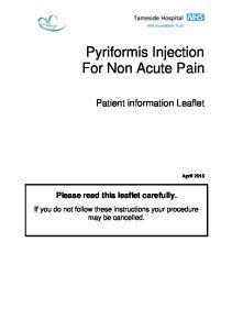 Pyriformis Injection For Non Acute Pain