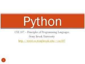 Python. CSE 307 Principles of Programming Languages Stony Brook University