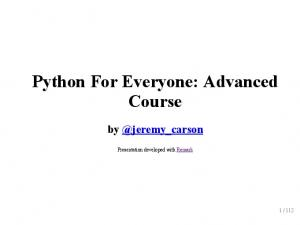Python For Everyone: Advanced Course