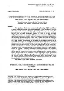 Q FEVER EPIDEMIOLOGY AND CONTROL IN DOMESTIC ANIMALS