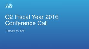 Q2 Fiscal Year 2016 Conference Call. February 10, 2016