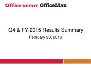Q4 & FY 2015 Results Summary. February 23, 2016