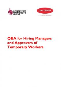 Q&A for Hiring Managers and Approvers of Temporary Workers