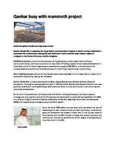 Qanbar busy with mammoth project