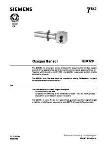 QGO20... Oxygen Sensor. Siemens Building Technologies HVAC Products