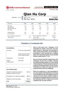 Qian Hu Corp. Offer Price: S$0.30