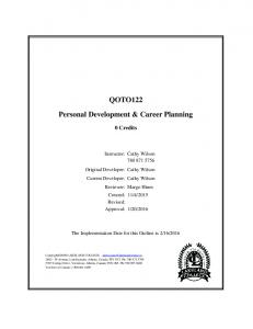 QOTO122 Personal Development & Career Planning