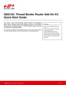 QSG102: Thread Border Router Add-On Kit Quick-Start Guide