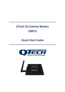 QTech 3G Cellular Modem CM910. Quick Start Guide
