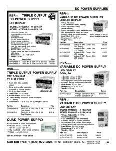 QUAD POWER SUPPLY DC POWER SUPPLIES TRIPLE OUTPUT DC POWER SUPPLY VARIABLE DC POWER SUPPLY TRIPLE OUTPUT POWER SUPPLY TWO 0-30V; 0-5A 3A FIXED