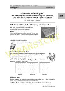Quadratisch, praktisch, gut!? Die handlungsorientierte Untersuchung von Vierecken und ihren Eigenschaften mithilfe von Geobrettern