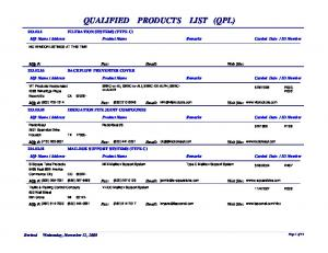 QUALIFIED PRODUCTS LIST (QPL)