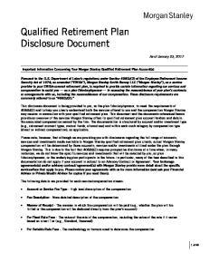 Qualified Retirement Plan Disclosure Document