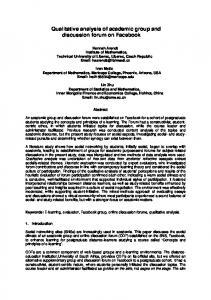 Qualitative analysis of academic group and discussion forum on Facebook