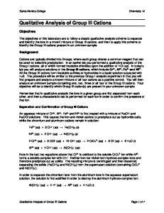 Qualitative Analysis of Group III Cations