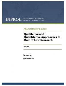 Qualitative and Quantitative Approaches to Rule of Law Research