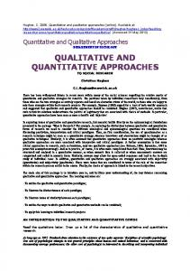 QUALITATIVE AND QUANTITATIVE APPROACHES TO SOCIAL RESEARCH