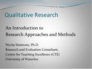 Qualitative Research. An Introduction to Research Approaches and Methods