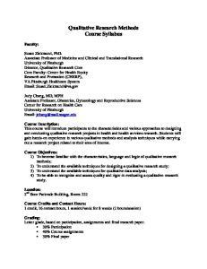 Qualitative Research Methods Course Syllabus