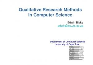 Qualitative Research Methods in Computer Science