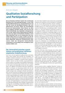 Qualitative Sozialforschung und Partizipation