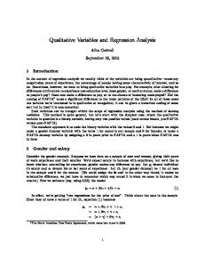 Qualitative Variables and Regression Analysis