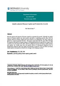 Quality-adjusted Human Capital and Productivity Growth