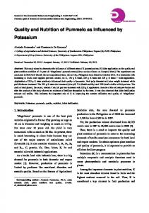 Quality and Nutrition of Pummelo as Influenced by Potassium
