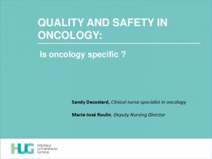 QUALITY AND SAFETY IN ONCOLOGY: