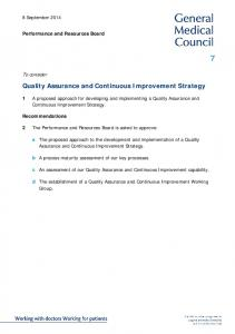 Quality Assurance and Continuous Improvement Strategy