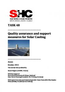 Quality assurance and support measures for Solar Cooling