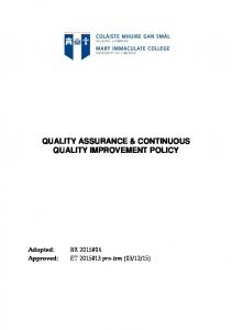 QUALITY ASSURANCE & CONTINUOUS QUALITY IMPROVEMENT POLICY