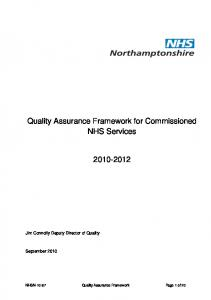 Quality Assurance Framework for Commissioned NHS Services