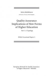 Quality Assurance Implications of New Forms of Higher Education