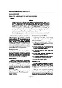 QUALITY ASSURANCE IN MICROBIOLOGY