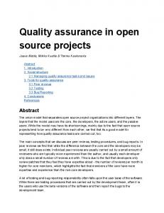 Quality assurance in open source projects