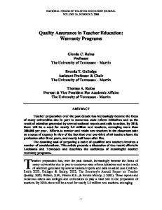 Quality Assurance in Teacher Education: Warranty Programs