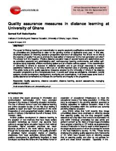 Quality assurance measures in distance learning at University of Ghana
