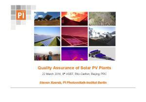 Quality Assurance of Solar PV Plants