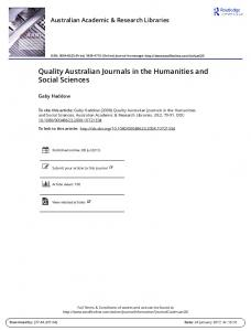 Quality Australian Journals in the Humanities and Social Sciences