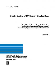 Quality Control of 19 th Century Weather Data