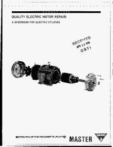 QUALITY ELECTRIC MOTOR REPAIR: A GUIDEBOOK FOR ELECTRIC UTILITIES