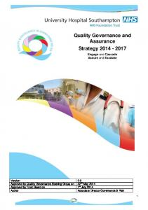 Quality Governance and Assurance Strategy