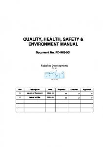 QUALITY, HEALTH, SAFETY & ENVIRONMENT MANUAL