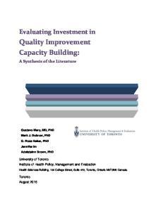 Quality Improvement Capacity Building: