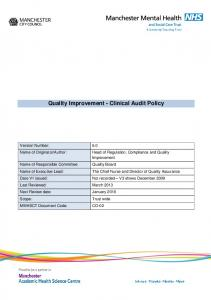 Quality Improvement - Clinical Audit Policy